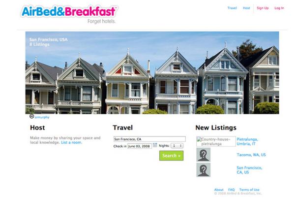 Airbnb's earlier website